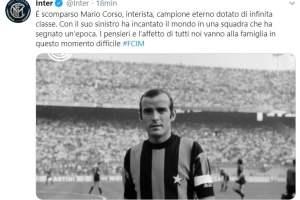 Calcio: addio a Mario Corso, mancino dell'Inter