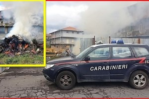 Belpasso, bruciano pneumatici e batterie a ridosso delle abitazioni: 2 denunciati
