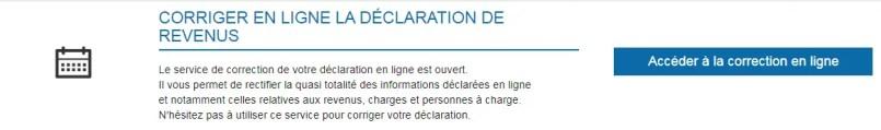 Correction de la déclaration d'impôt en ligne