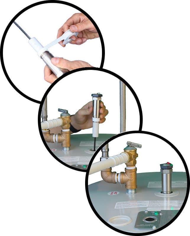 Installez-le-Corro-Protec-à l'intérieur du trou de soupape de décharge
