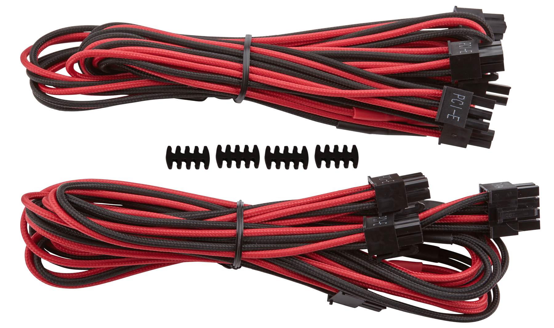 hight resolution of corsair premium individually sleeved type 4 generation 3 pcie cables with single connectors feature a flexible paracord sleeve and in line capacitors that