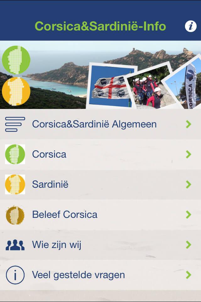 App voor Corsica en Sardinië