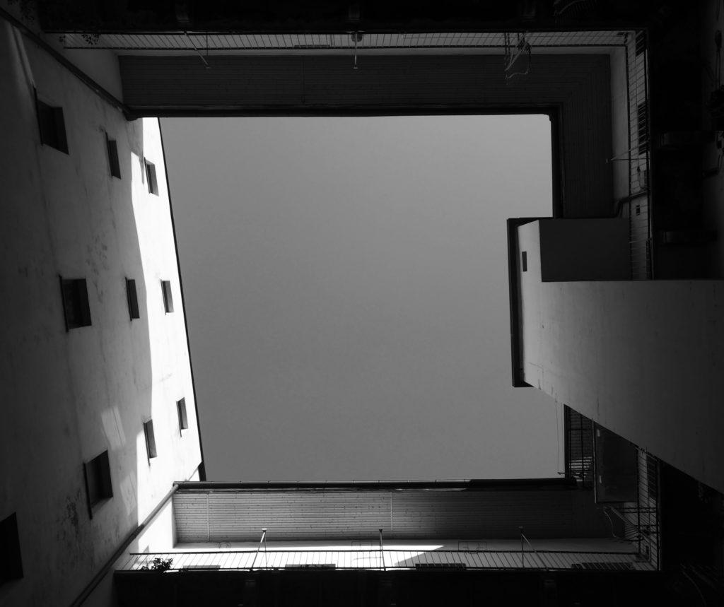 cortile interno visto dal basso