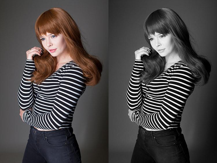 Sulla sinistra l'immagine originale, sulla destra quella convertita in bianco e nero con Camera Raw