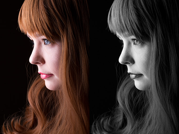 sulla sinistra la foto originale, sulla destra la conversione con il metodo che usa i canali
