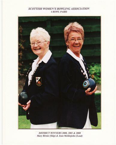 Winners of SWBA District Pairs 2000, 2001 & 2008. Mary Birnie & Jean Meiklejohn