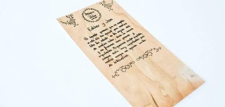 invitacion boda papel madera impreso