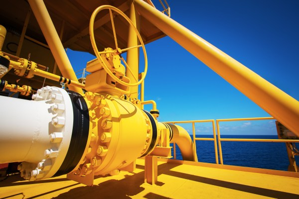 Manual operate ball valve at offshore oil and gas central processing platform, manual valve