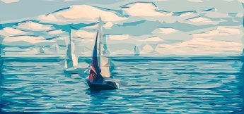 sailing boat-water waves