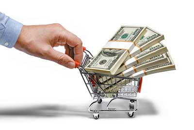 cart with money in it