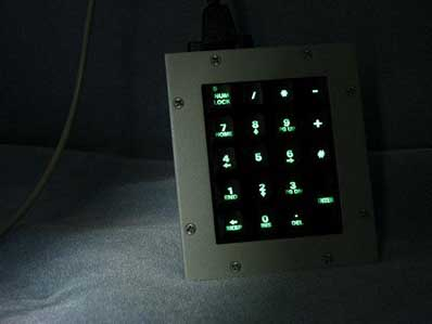 Cortron Model KP19 Keypad No Pointing Device  Backlit Panel Mount Enclosure Extreme Shock and Water