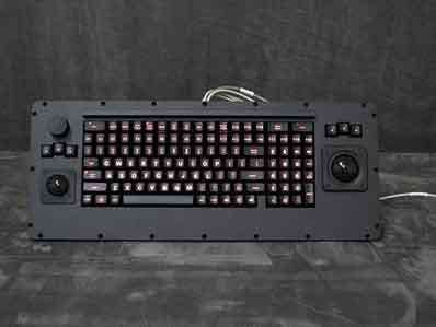Cortron Model CUSTOM-KB Keyboard 1.5 inch & 2 inch Trackball  Backlit Panel Mount Enclosure Special features: knob Mouse
