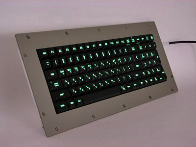 Cortron Model 90 Keyboard No Pointing Dev  Backlit Panel Mount Enclosure Korean Legends.