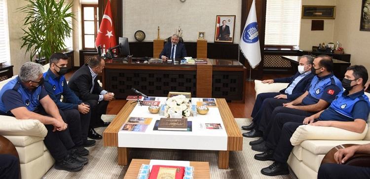 Zabıta teşkilatından Başkan'a ziyaret