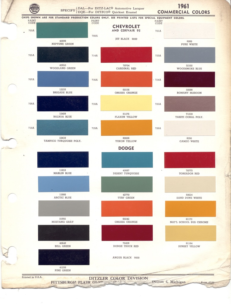 hight resolution of ditzler 1961 commercial colors