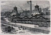 A railway siding with trucks of coal, buildings and a large chimney. Wood engraving after J.Ferat . Wellcome Collection