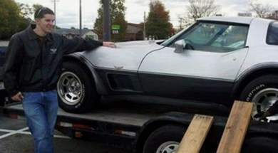 Enon resident Joshua Gierke with his family's 1978 Chevy Corvette.