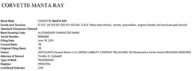 Corvette Manta Ray Trademark