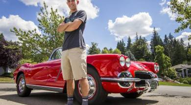 "Blake Nelson stands near his 1962 Corvette in the driveway of his family's home in Puyallup. Nelson inherited the car from his grandfather, Paul Gaetz, after he died from brain cancer in 2009. ""It's cool having something that reminds me of him all the time,"" he said. Joshua Bessex jbessex@gateline.com  Read more here: http://www.thenewstribune.com/news/local/community/puyallup-herald/ph-news/article90530867.html#storylink=cpy"