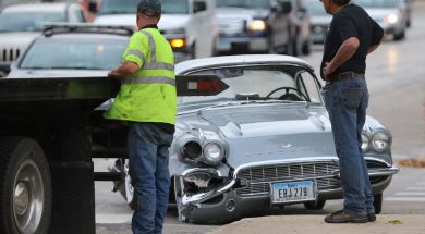1961 Chevy Corvette hit during final test drive in Mason City, Iowa