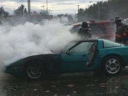 Corvette Burns in Merrimack High School Parking Lot