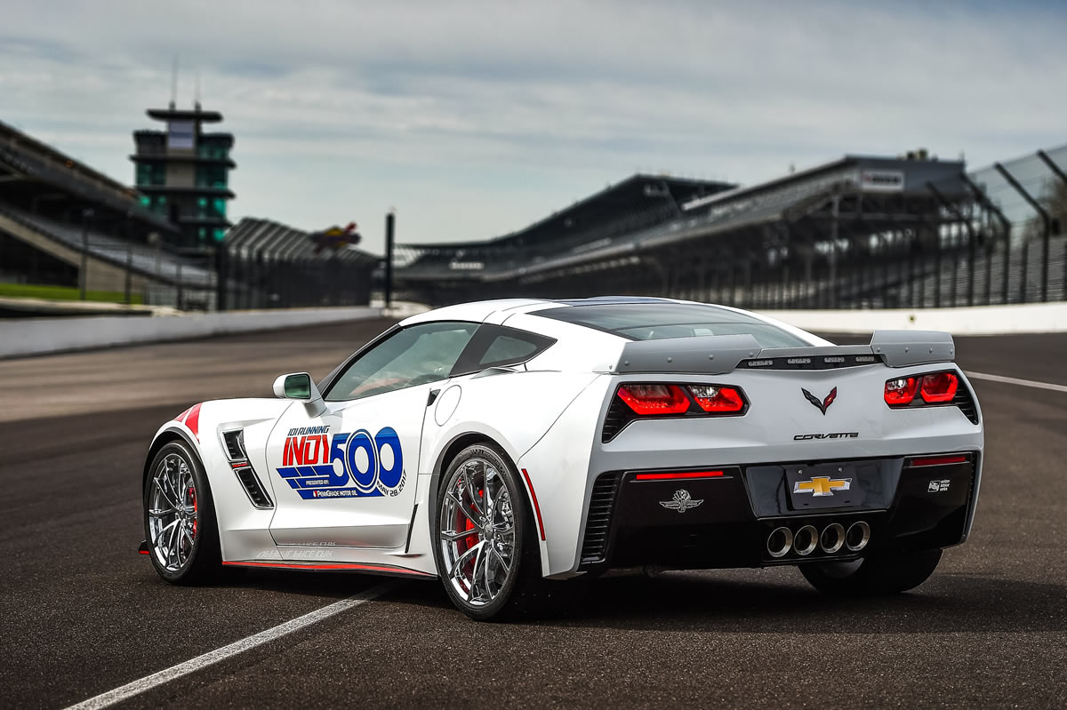 The 2017 Chevrolet Corvette Grand Sport Indianapolis 500 Pace Car at Indianapolis Motor Speedway in Indianapolis, Indiana. The Corvette Grand Sport will pace the field at the start of the Verizon IndyCar Series Indianapolis 500 race on Sunday, May 28, 2017. (Photo by Chris Owens/IMS for Chevy Racing)