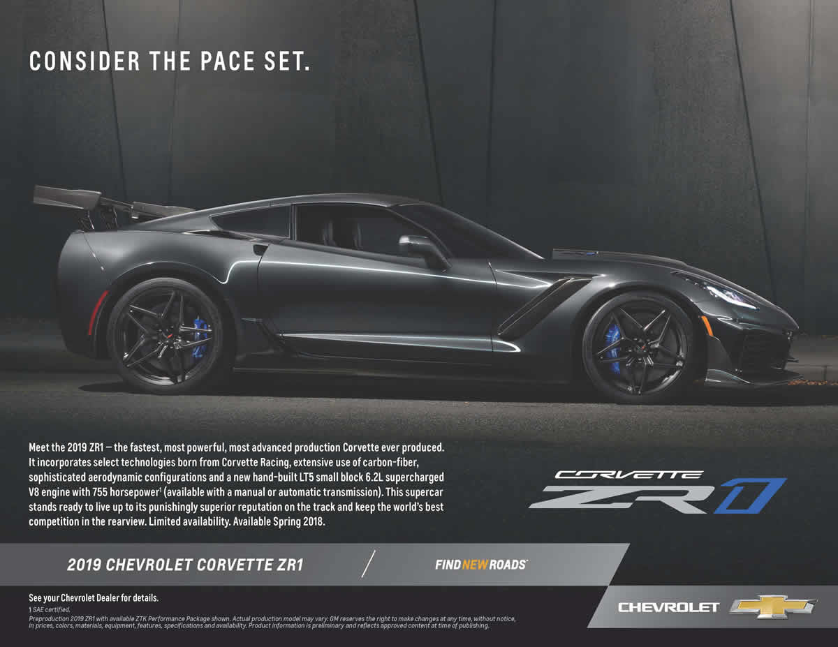 2019 Corvette ZR1 Promotional Flyer