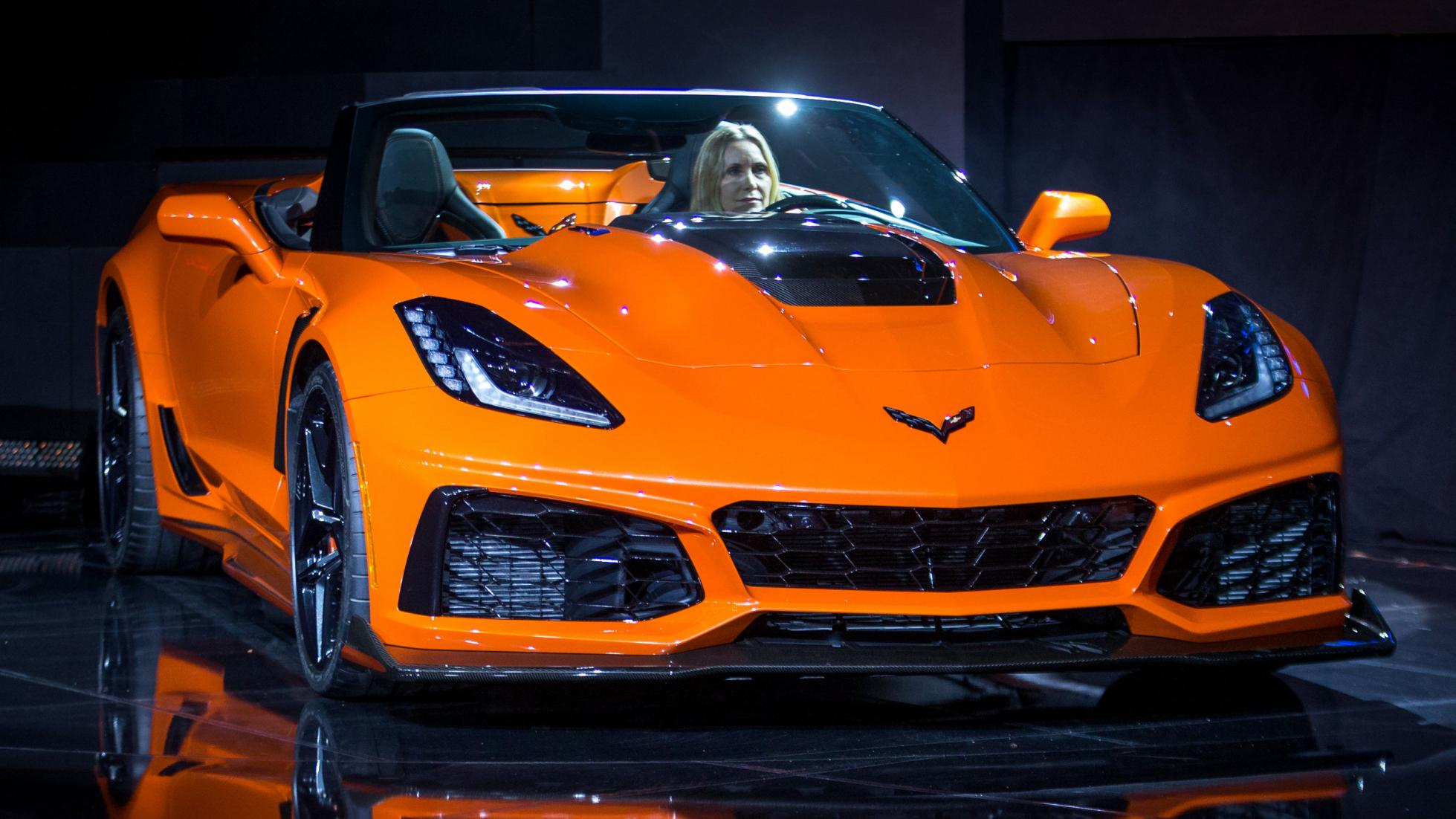The 2019 Corvette ZR1 Convertible makes its world debut Tuesday, November 28, 2017 in Los Angeles, California. The Corvette ZR1's unique aero package is central to the coupe's 212-mph top speed generated by the 755 horsepower LT5 6.2L supercharged engine. The ZR1 convertible will start at $123,995 and will go on sale in the spring of 2018. (Photo by Dan MacMedan for Chevrolet)
