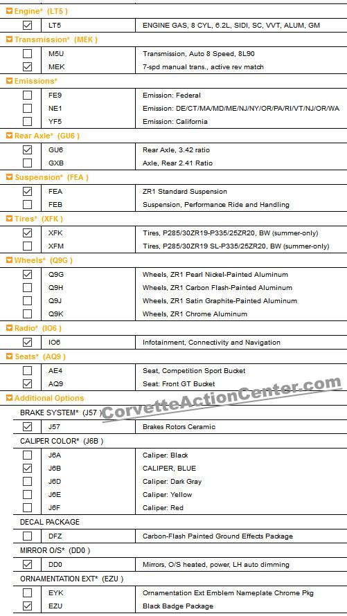 2019 Corvette ZR1 - 3ZR - Ordering Information