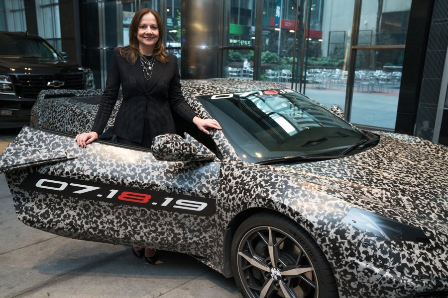General Motors Chairman and CEO Mary Barra and a camouflaged next generation Chevrolet Corvette Thursday, April 11, 2019 in New York, New York. The next generation Corvette will be unveiled on July 18. (Photo by Todd Plitt for Chevrolet)