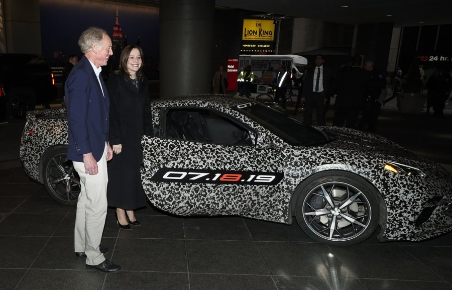 Chevrolet Corvette Chief Engineer Tadge Juechter and General Motors Chairman and CEO Mary Barra near Times Square Thursday, April 11, 2019 in New York, New York. The next generation Corvette will be unveiled on July 18. (Photo by Todd Plitt for Chevrolet)