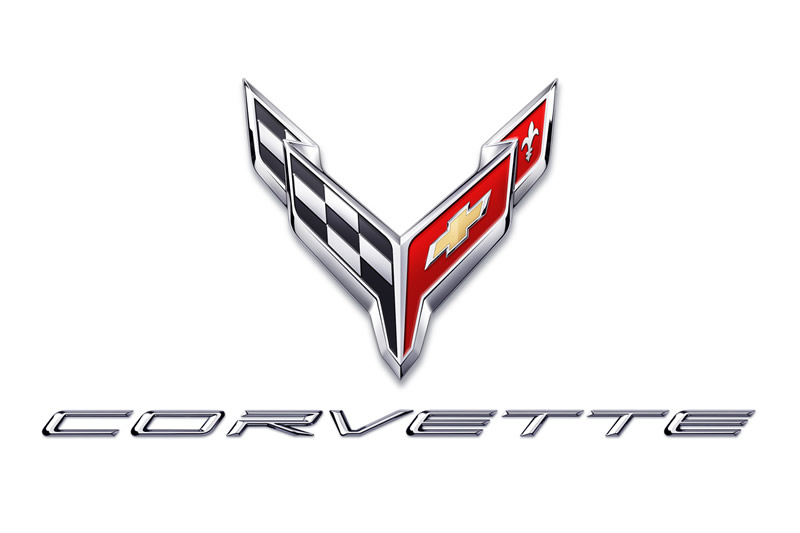 2020 Corvette Crossflags Symbol and Script in Chrome on White