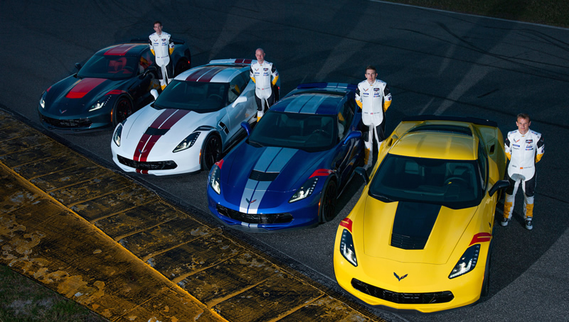 Corvette Racing drivers Tommy Milner,  Oliver Gavin, Jan Magnussen and Antonio Garcia