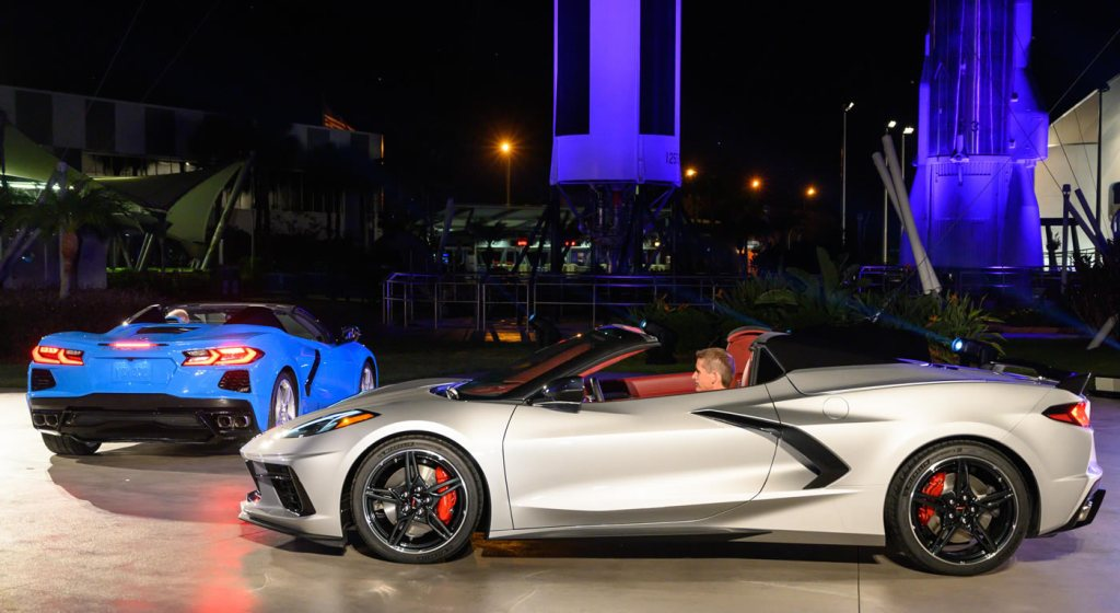 The 2020 Chevrolet Corvette Stingray convertible and Chevrolet's first mid-engine GTLM race car - the Corvette C8.R - are unveiled Wednesday, October 2, 2019 at the Kennedy Space Center in Cape Canaveral, Florida. The Corvette Stingray convertible is the first hardtop and mid-engine convertible in Corvette history. The C8.R will make its racing debut at Rolex 24 at Daytona in January 2020. (Photo by Preston Mack for Chevrolet)
