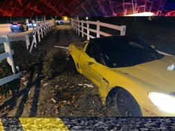 Stolen C6 Corvette Grand Sport Crashes Through Fence After Vehicle Left Unattended With Engine Running