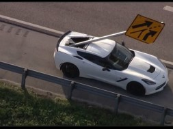 Corvette impaled by street sign during multi-vehicle crash on I-95; no serious injuries