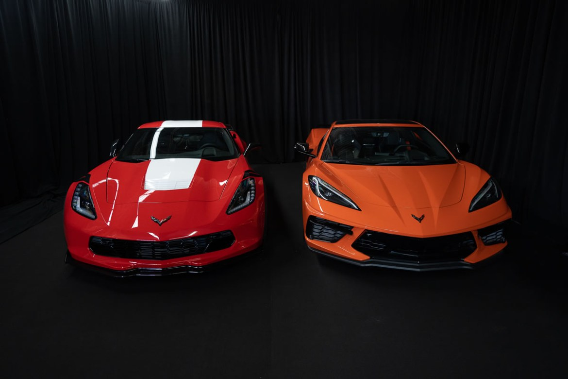 The last 7th generation and first 8th generation Chevrolet Corvettes built for the Canadian market. Photo credit: Bavi Bas