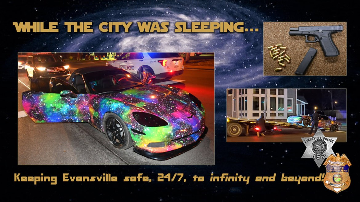 Officers find 2 asleep in galaxy-painted Corvette with engine running