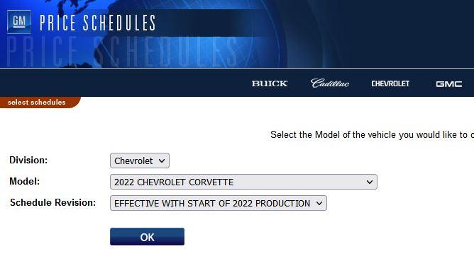 GM Price Schedules