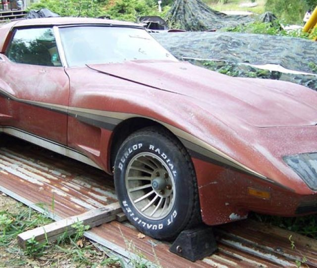Corvettes On Ebay Barn Find 1974 Corvette With Greenwood Widebody Kit