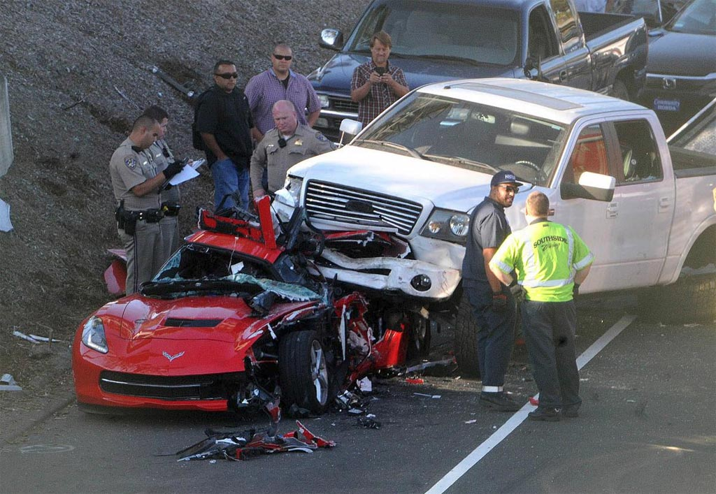 ACCIDENT Pickup Truck Lands on Top of a Corvette