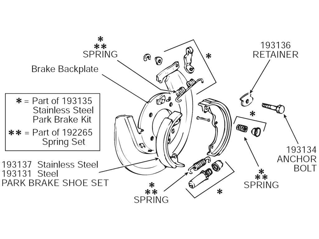 65 82 Parking Emergency Brake Shoes Hardware Kit