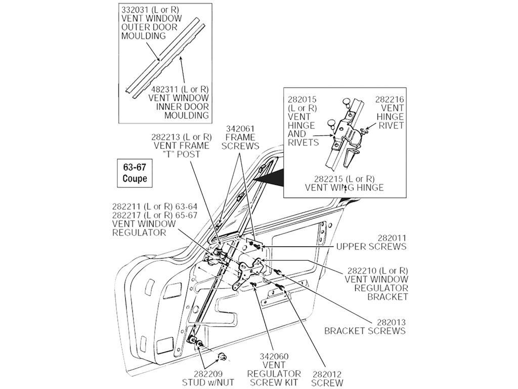 63-67 Left Vent Window Regulator (63-64 Conv, 65-67 Coupe