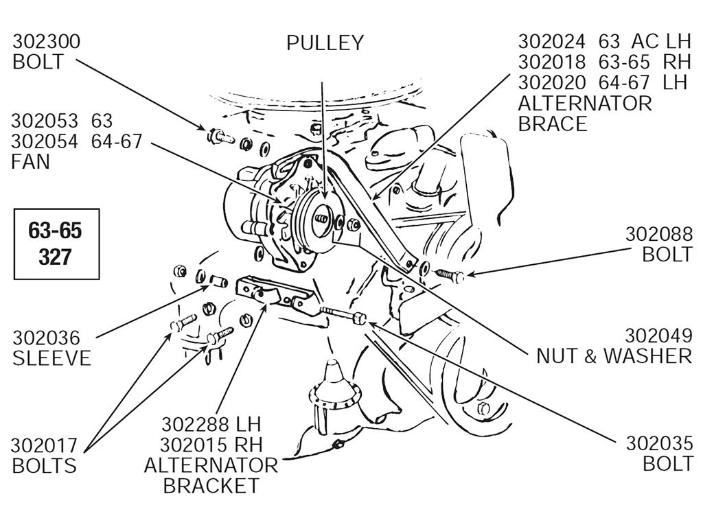 58 65 Alternator Support Bracket