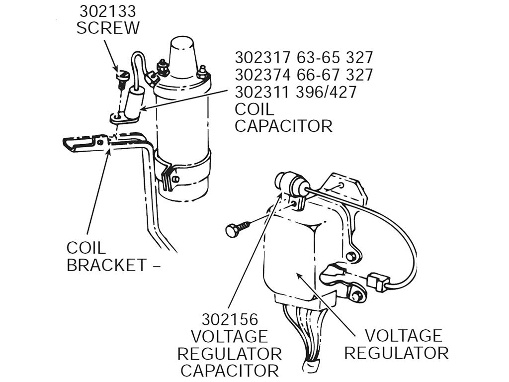 63 65 Coil Capacitor 327 With Bracket Correct