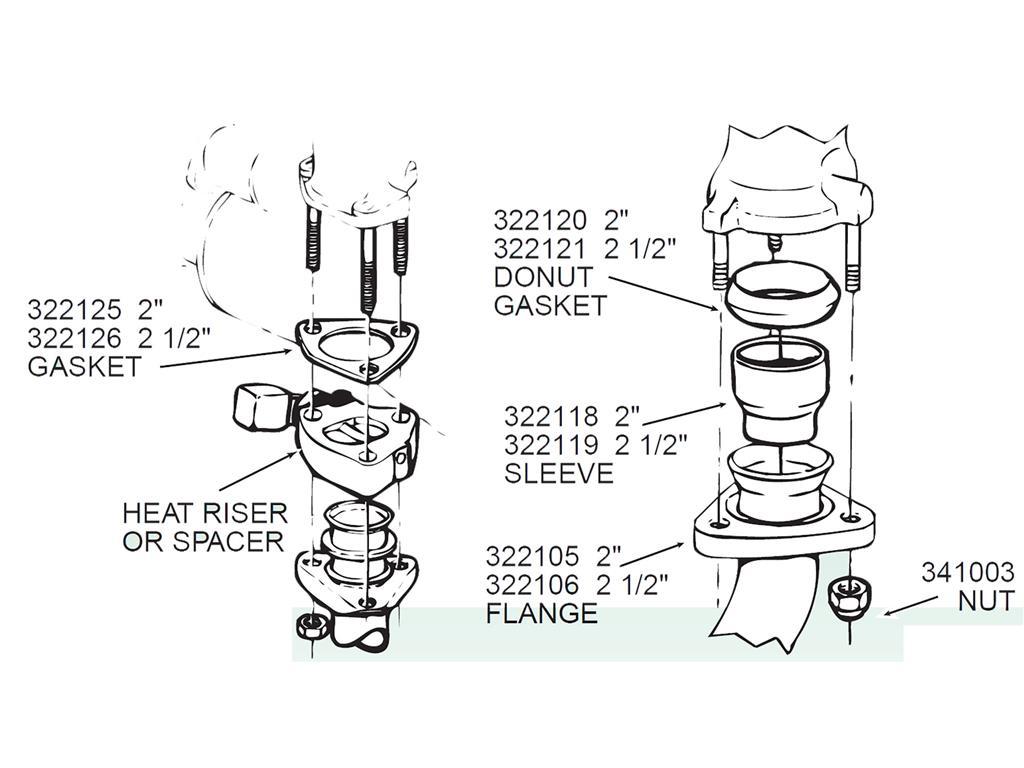 62 74 Exhaust Heat Riser Spacer Gasket