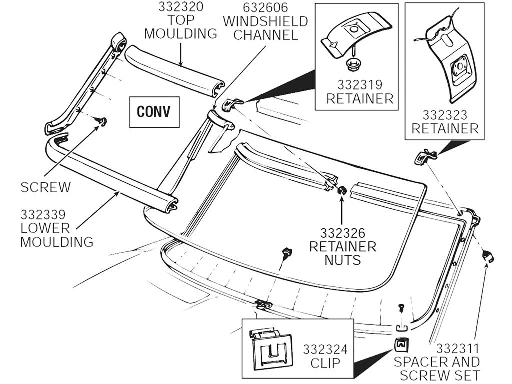 63-67 Convertible Top / Upper Outer Windshield Moulding
