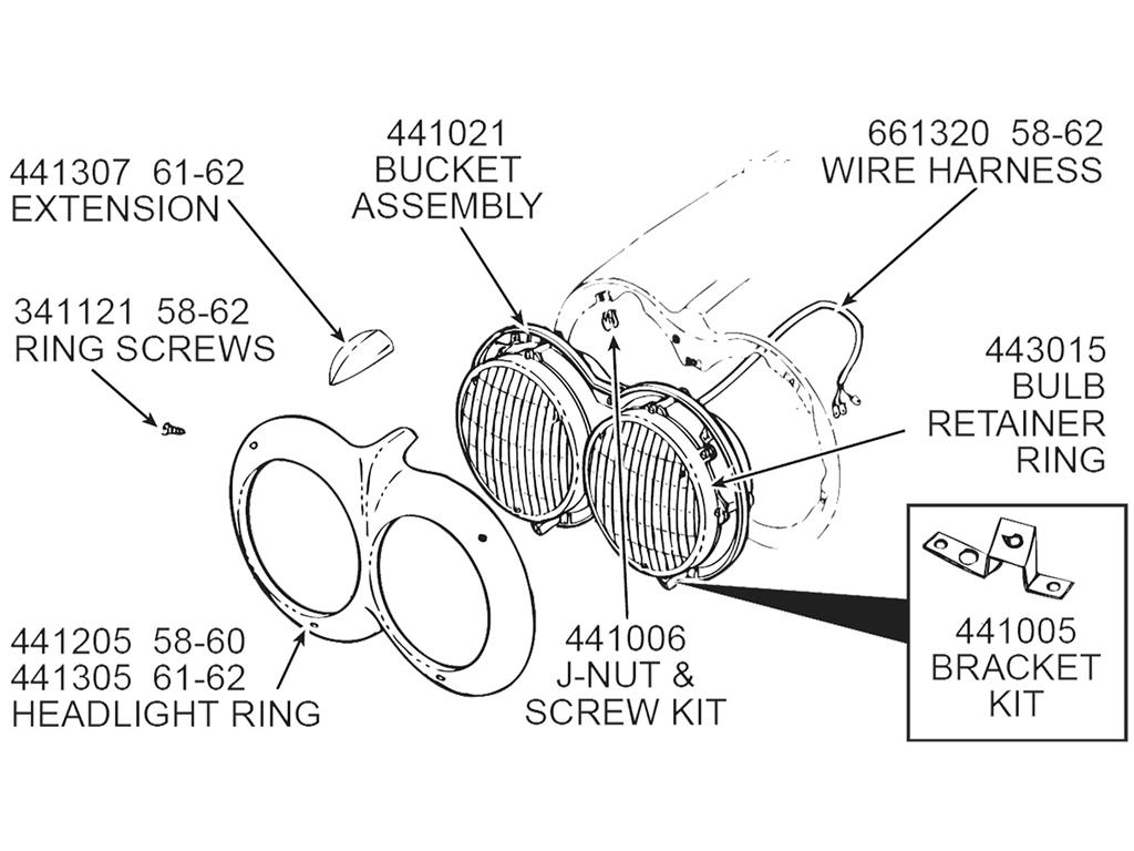 64 82 Headlight Bulb Retainer Ring