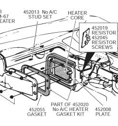 63 67 heater box gasket set no air inner and outer with rivets 9 pieces [ 1024 x 768 Pixel ]