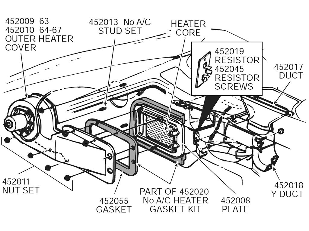 hight resolution of 63 67 heater box gasket set no air inner and outer with rivets 9 pieces